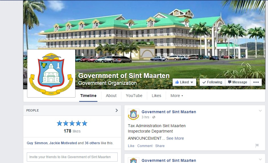 Government of Sint Maarten launches its Official Facebook Page